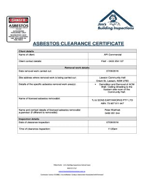 fillable  asbestos clearance certificate fax email
