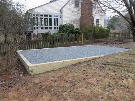 shed foundation gravel shed pad garden backyard