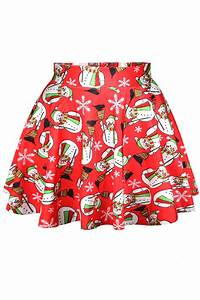 Red Ugly Christmas Snowman Womens Cute Holiday Pleated Skirt - PINK QUEEN