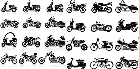 All Type Motorcycles Silhouettes Vector Free Download