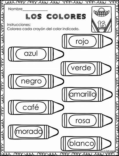 Spanish Worksheets Colors Learning Colores Los Lessons