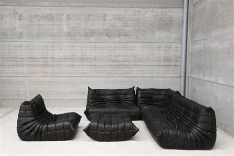 togo canape vintage black leather togo lounge set by michel ducaroy
