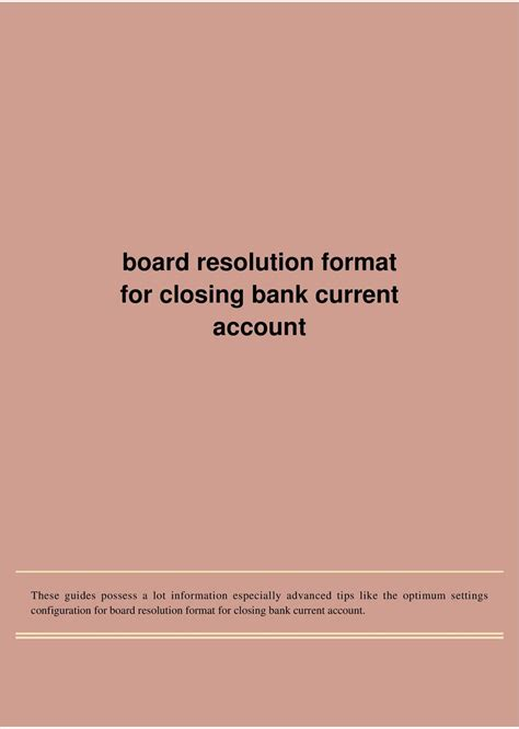board resolution format  closing bank current account