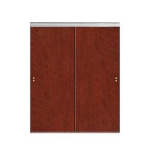 impact plus 60 in x 80 in smooth flush cherry solid