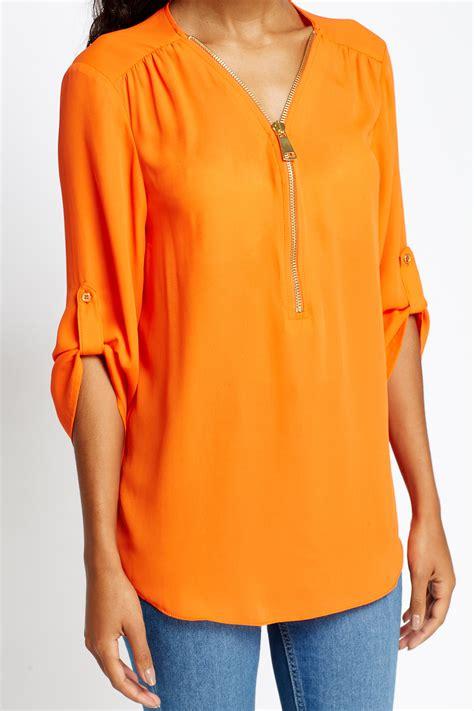 orange blouses sleeves orange blouse just 5