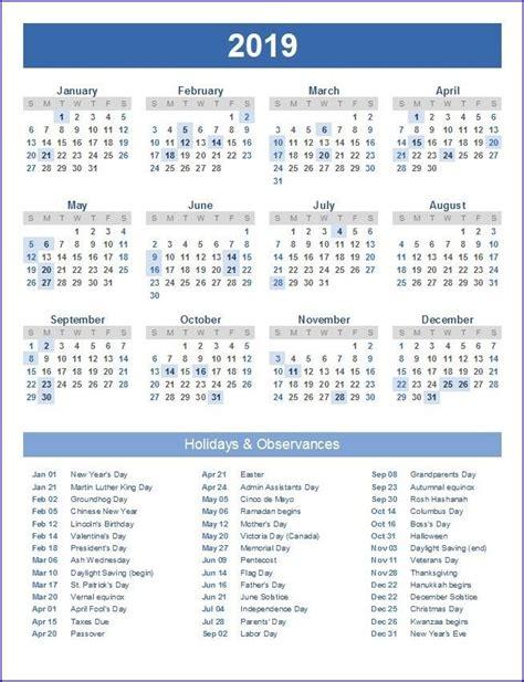 printable calendar excel top