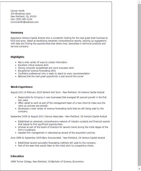 Venture Capital Resume by Professional Venture Capital Analyst Templates To Showcase