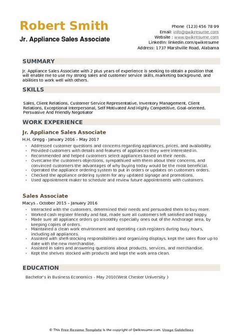Salesperson Resume Sle by Appliance Sales Associate Resume Sles Qwikresume