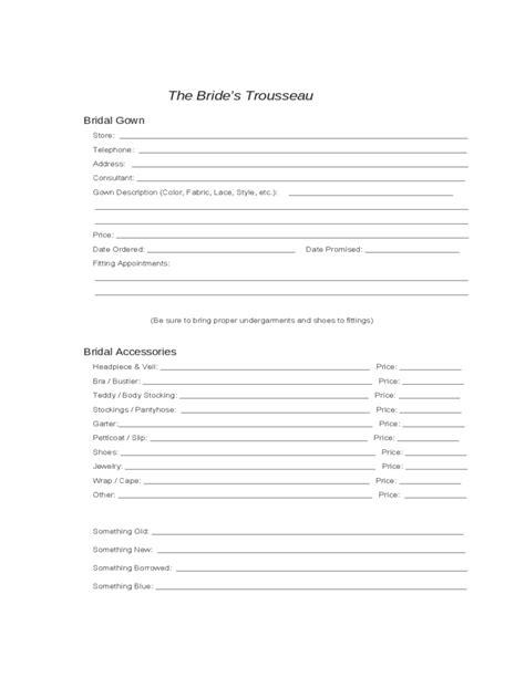 wedding planning worksheets