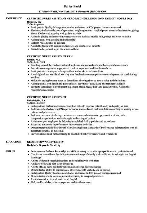 Exles Of Nursing Assistant Resumes by Resume Exles For Nurses Assistant Vvengelbert Nl