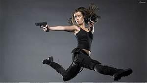 Summer Glau Shooting With Gun In Black Dress N Grey ...