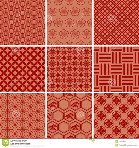 Japan Cherry Blossom Wallpaper Japanese Traditional Red Pattern Set Stock Vector Image 15425427