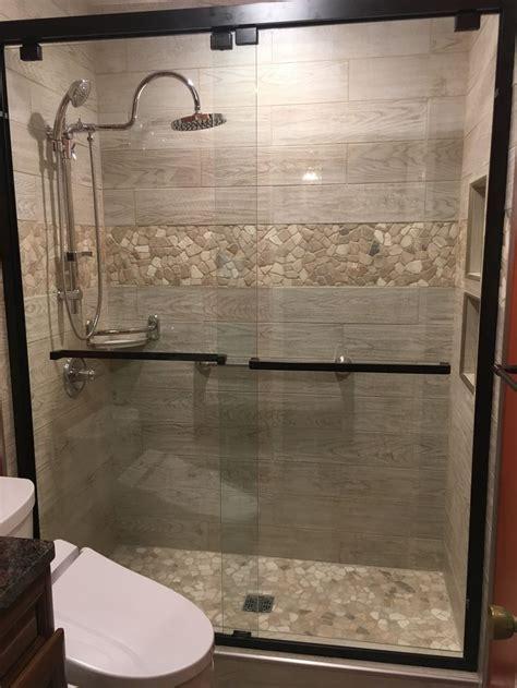 mixed quartz mosaic tile shower remodel bathroom