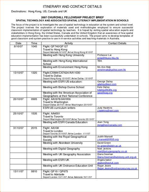 itinerary format authorizationlettersorg