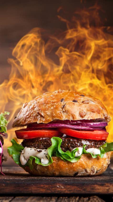 wallpaper burger steak fire  food