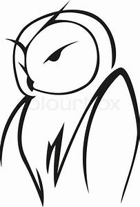 Stylized black and white vector doodle sketch of an owl in ...
