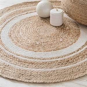 tapis rond en coton blanc et jute d90cm tapis rond With tapis rond en jute