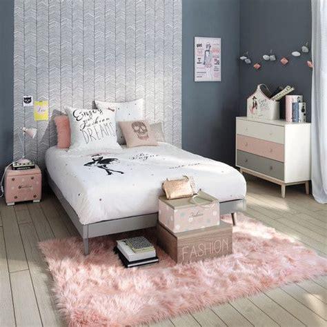 maison du monde chambre fille porte revues blanc commode tapis et parure de lit blush