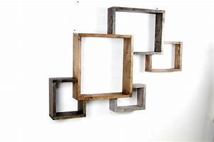 Wood geometric hanging wall shelves decofurnish for Unusual shelves on wall