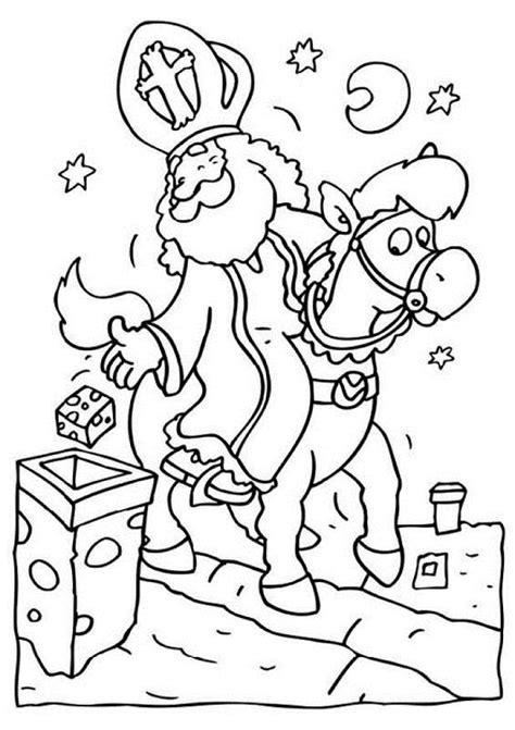 Kleurplaat Zwarte Piet Op Het Dak by Sinterklaas Op Het Dak Kleurplaten Animaatjes Nl