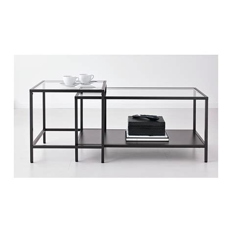 long coffee table ikea vittsjö nesting tables set of 2 black brown glass