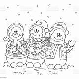 Snowman Coloring Three Vector Snow Letter Illustration Royalty sketch template