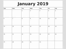 January 2019 Calendar Canada calendar month printable