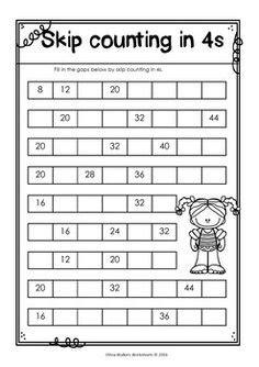 skip counting     worksheets printables