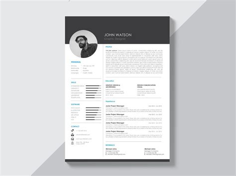 Free Curriculum Template by Free Black And White Curriculum Vitae Template With Modern