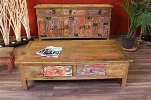 Couchtisch Holz Antik : couchtisch wohnzimmertisch 150x80x45 teak massiv holz antik recycelt schubladen ebay ~ Frokenaadalensverden.com Haus und Dekorationen