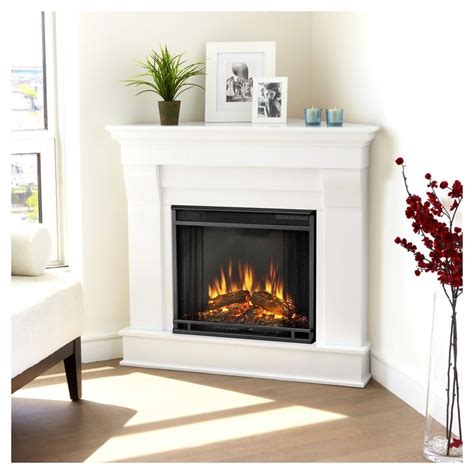 real flame chateau corner electric fireplace white