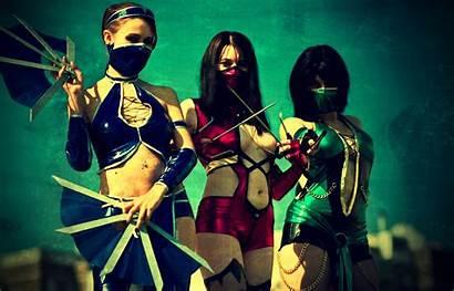 Kitana Cosplay Mortal Kombat Mulheres Parede Papel