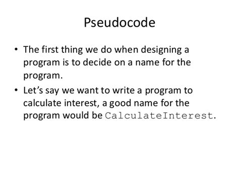 What Program Do I Need To Write A Resume by Program Design With Pseudocode