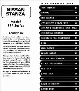 1984 Nissan Stanza Repair Shop Manual Original