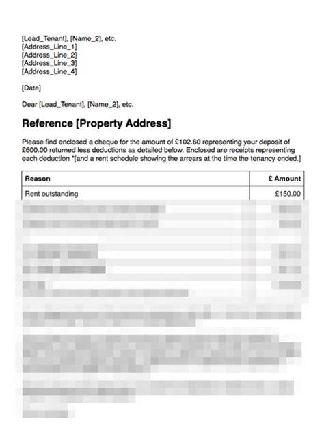 sample rental agreement letter return deposit with deductions grl landlord association