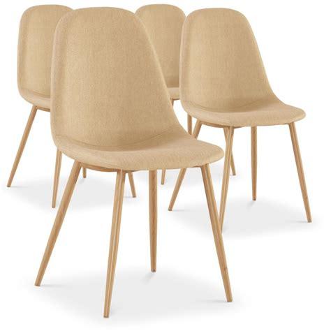 chaise tissu beige chaises scandinaves karl tissu beige lot de 4 pas cher