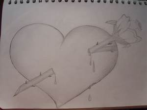 Broken Heart With Rose Drawings In Pencil - Drawing Of Sketch