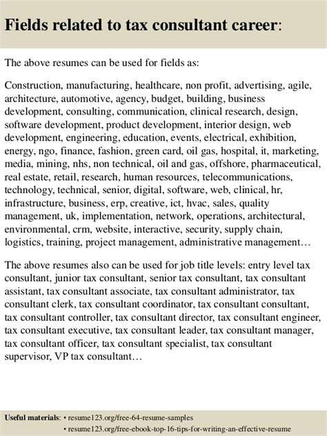 top 8 tax consultant resume sles