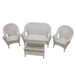 4 piece white resin wicker patio furniture set 2 chairs