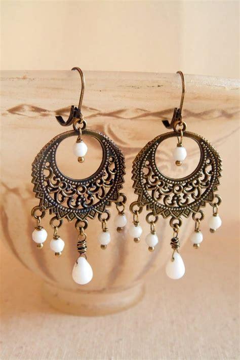 Bohemian Chandelier Earrings by White Bohemian Chandelier Earrings Bohemian Jewelry Boho