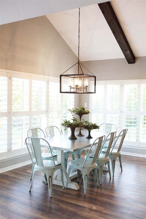 modern farmhouse dining room lighting new favorite show fixer upper metal chairs love the