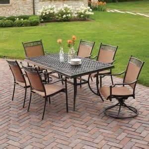hton bay niles park 7 piece sling patio dining set s7
