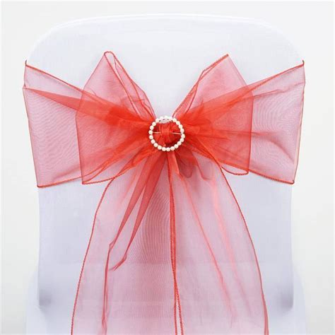 burnt orange organza chair sash efavormart