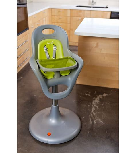boon flair pedestal highchair grey green