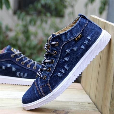 mens denim british style canvas shoe sneaker mens casual shoes casual shoes sneakers men