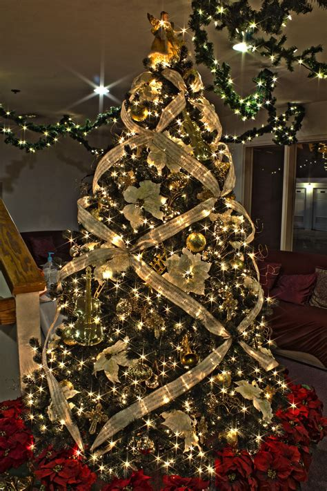 photo tree decoration gold themed tree home decor