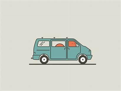 Bus Vanlife Van Dribbble Animation Vans Travel