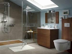Carrelage Douche à L Italienne : carrelage gris dans douche a l italienne sous comble ~ Melissatoandfro.com Idées de Décoration