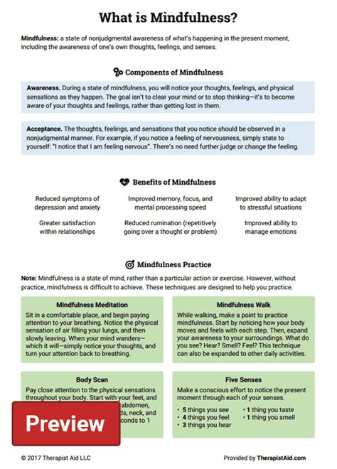 What Is Mindfulness? (worksheet)  Therapist Aid