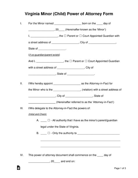 virginia power of attorney form pdf free virginia minor child power of attorney form word